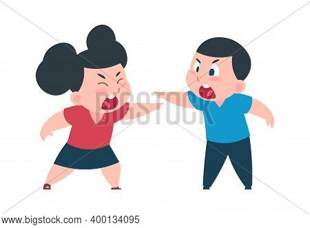 Children Quarrel. Cartoon Cute Boy And Girl Arguing, Shouting And Waving Hands, Pointing Accusingly.