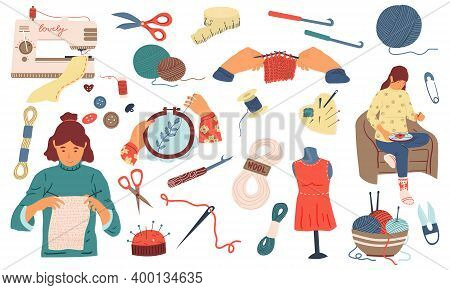 Needlework. Sewing Knitting And Embroidery Hand Made Woman Hobby Collection, Tools And Instruments,