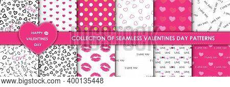 Set Of 12 Elegant Seamless Patterns With Hand Drawn Decorative Hearts, Design Elements. Romantic Pat