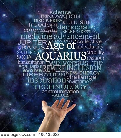 Cosmic Astrological Age Of Aquarius Word Cloud - A Circular Word Cloud Relevant To The New Era Of Aq
