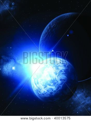 Look at the starry sky with mist and a group of planets