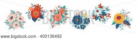 Bouquet. Cartoon Blossoming Flowers And Leaves. Collection Of Colorful Blooming Plants And Decorativ