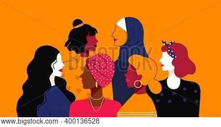 Women Empowerment. Cartoon Young People Of Different Nationalities And Religions. Female Power Commu