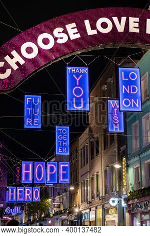 London, Uk - November 1, 2020: Carnaby Street 2020 Christmas Lights With Positive Words Paying Tribu