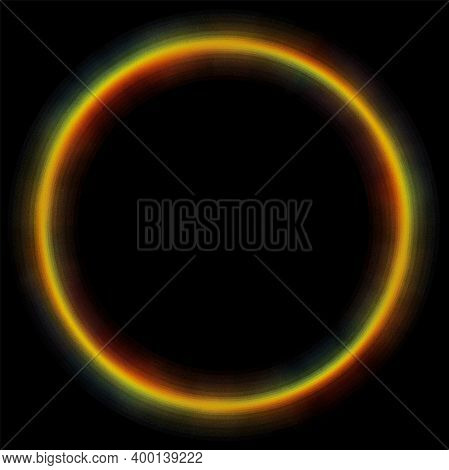 Abstract Blurry Color Wheel On Black. Spectrum Blurred Circle Jpeg Illustration. Round Frame Or Bann