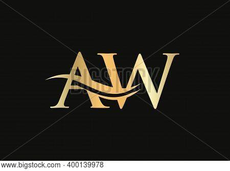 Premium Aw Letter Logo Design. Aw Logo For Luxury Branding. Elegant And Stylish Design For Your Comp