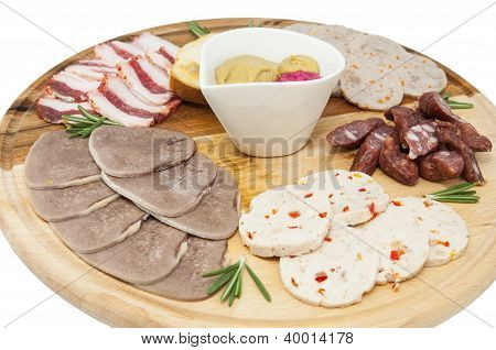 a plate of sausage and bacon