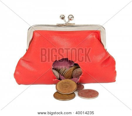 Red purse with hole
