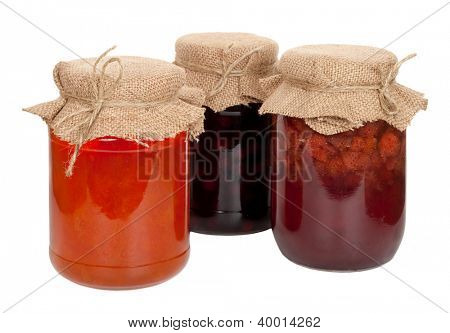 Apricot, cherry and strawberry jam