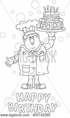 Greeting Birthday Card With A Happy Fat Confectioner Holding A Round Dish With A Freshly Baked Fancy