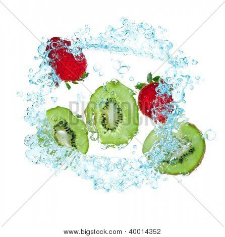 fresh kiwi and strawberries  splash in water isolated on white