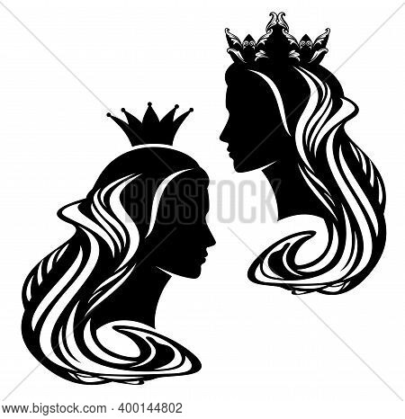 Beautiful Fairy Tale Queen And Princess With Long Gorgeous Hair And Royal Crown Profile Head Portrai