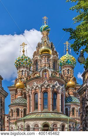 Church Of The Savior On Spilled Blood Is One Of The Main Sights Of Saint Petersburg, Russia.