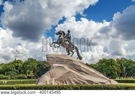The Equestrian Statue Of Peter The Great Is Situated In The Senate Square In Saint Petersburg, Russi