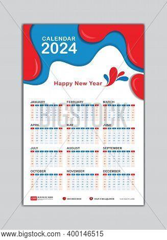 Wall Calendar 2024 Template. Desk Calendar 2024 Template, Calendar 2024 Banner, Happy New Year 2024,