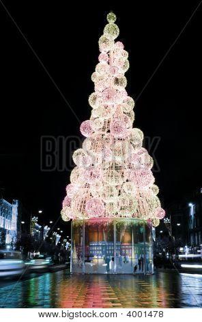 Christmas Tree On The Streets Of Dublin City, Ireland