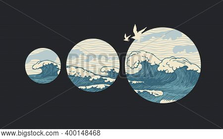 Decorative Illustration Of Hand-drawn Sea Waves Inside Circles And Flying Seagulls On A Black Backgr