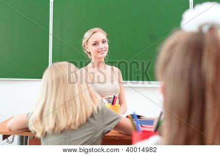 young teacher in the classroom
