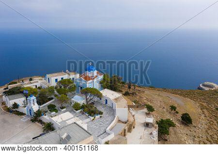 Greece. Kea Island, Kastriani Monastery, Blue Sea Background.