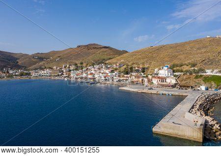 Kea Tzia Island, Cyclades, Greece. Aerial Drone Photo Of The Port