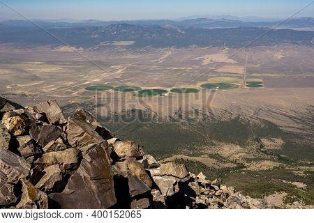 Circular Green Fields Below High Mountain Peak In Great Basin National Park