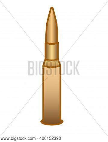 Cartridge For A Weapon - Vector Full Color Picture For A Sign Or Pictogram. A Bullet With A Charge A
