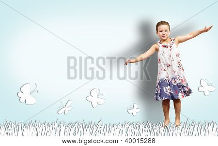 Girl jumping in a color dress