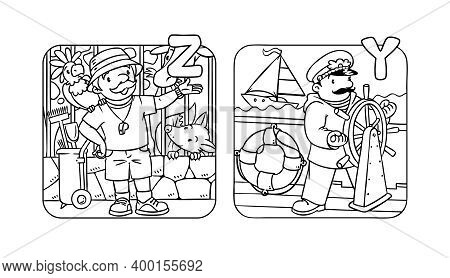 Abc People With Professions Coloring Book Set.
