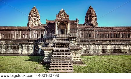 Siem Reap, Cambodia - December 2015: Ruins Of Angkor Wat. Angkor Wat Is The Largest Religious Monume