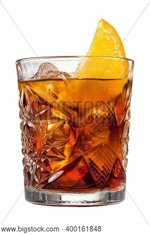 Americano Or Classic Italian Drink Negroni Cocktail With Orange Slice In The Rocks Glass Isolated, C