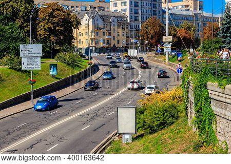 Kiev, Ukraine - August 24, 2019: Traffic Cars On The Multi Lane City Street In Centre Of Kiev, Ukrai
