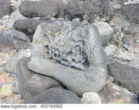 Errosia Lava Tuff On The Coast Of Easter Island.