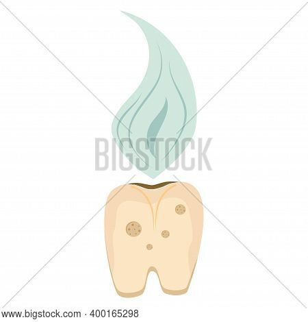 A Rotten Tooth Is Isolated On A White Background. A Yellow, Diseased Tooth With A Bad Smell, Require