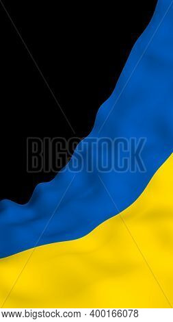The Flag Of Ukraine On A Dark Background. National Flag And State Ensign. Blue And Yellow Bicolour.