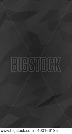 Black Abstract Background. Lowpoly Backdrop. Gloomy Crumpled Paper. Vertical Orientation. 3d Illustr