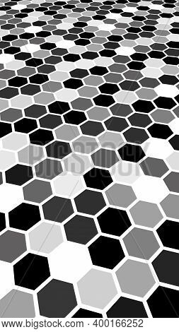 Honeycomb Gray Colored. Perspective View On Polygon Look Like Honeycomb. Isometric Geometry. 3d Illu