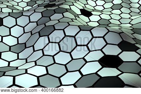 Honeycomb With A Gradient Color. Perspective View On Polygon Look Like Honeycomb. Wavy Surface. Isom
