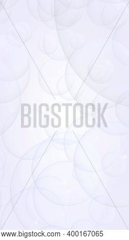 Abstract White Background. Backdrop With Light Transparent Bubbles. Vertical Orientation. 3d Illustr