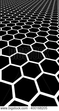 White Honeycomb On A Black Background. Perspective View On Polygon Look Like Honeycomb. Isometric Ge