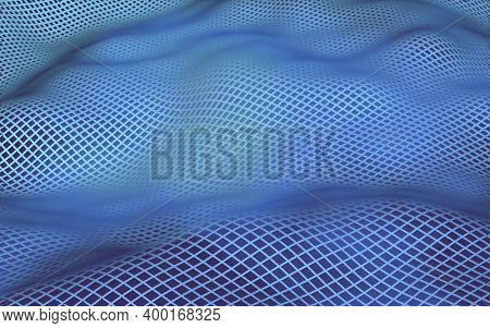 Abstract Landscape On A Purple-blue Background. Cyberspace Grid. Hi Tech Network. 3d Illustration