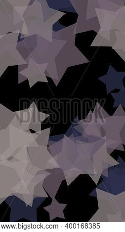 Gray Translucent Stars On A Dark Background. Orange Tones. 3d Illustration