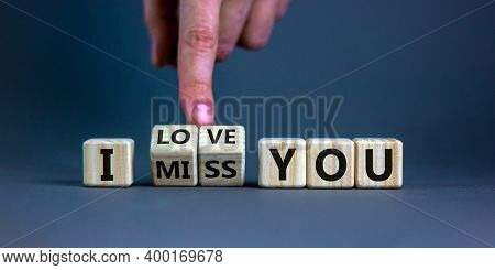 I Love You Symbol. Hand Turns Cubes And Changes The Expression 'i Miss You' To 'i Love You'. Beautif