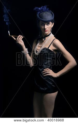 Woman with cigarette and long legs