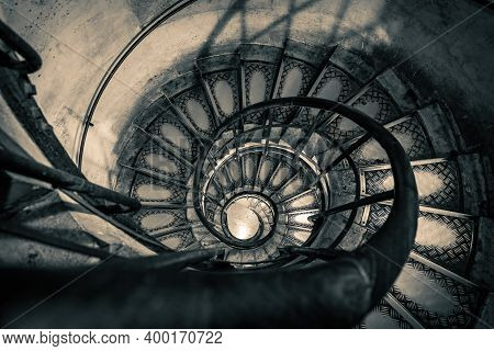 Spiral Stairs Inside Arc De Triomphe In Paris, France