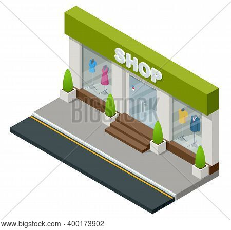 Isometric Boutique Window With Dressed Mannequins Isolated On White Background. Retail Shop Or Cloth