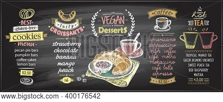 Chalk menu board designs set with sweets and hot drinks - vegan desserts, gluten free cookies, croissants, coffee and tea, raster version