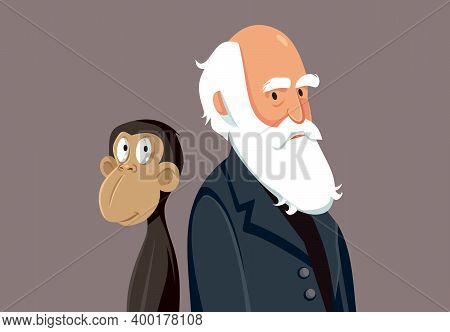 Charles Darwin Funny Cartoon Illustration Character Portrait