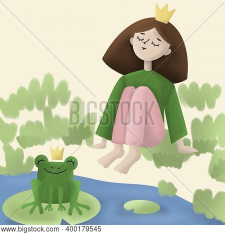 A Girl Wearing Crown Sits Near The River And Dreaming. Green Frog Prince With The Crown On A Head Si