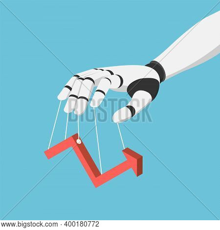 Flat 3d Isometric Ai Robot Hand Puppet And Controlling Financial Market Graph. Artificial Intelligen
