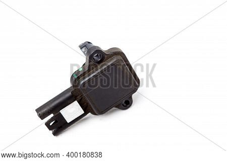 Mass Air Flow Sensor Isolated On White Background. Auto Service Industry. Spare Parts Catalog Auto S